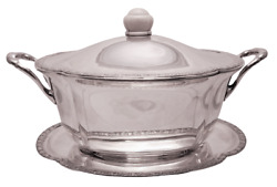 Austrian Continental Silver Tureen / Covered Dish With Matching Tray Jugendstil