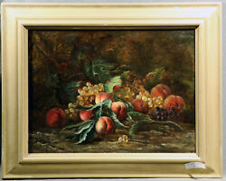 Impressive Antique Still Life Painting Peaches Green And Black Grapes Gold Frame