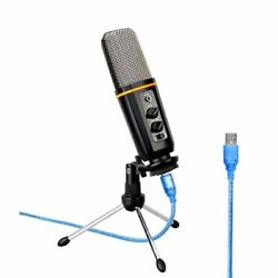 USB Podcast Microphone With Headphone Monitoring Vocal Condenser Mic For PC
