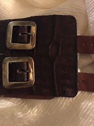 Pat Areias Rare Caiman Crocodile Belt With Sterling Silver Buckles