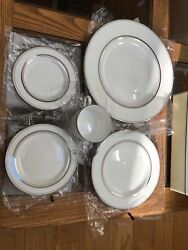 Kate Spade Library Lane Platinum 5pc Place Setting - Lot of 12 sets (NEVER USED)