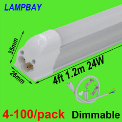 4-100/pack Dimmable Led Tube Light 4ft 1.2m 24w T5 Integrated Bulb Lamp Fixture