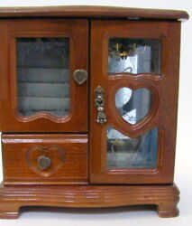 Wooden Jewelry Box 2 Glass Door Front And Drawer Chains Rings Metal Heart Pulls
