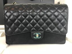 BNIB Authentic Chanel Black Quilted Caviar Maxi Classic Double Flap Bag GHW