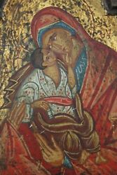 † Bvm Mother Of God Russian Icon Handpainted On Handcarved Wood Orthodox †