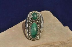 Navajo Sterling Silver And Malachite Ring C.1980 Size 9 3/4