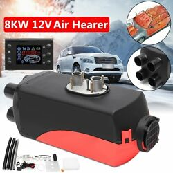 8KW 12V Car Auto Air diesel Heater 4 Holes 4 Duct LCD Switch + Silencer 8000W NS