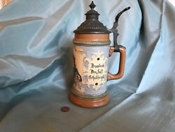 Antique German Hr Hauber And Reuther Porcelain Beer Stein 212 Free 📦 Shipping