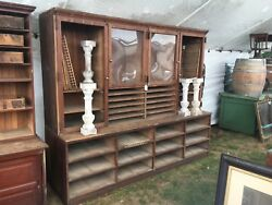 c1900 antique oak country store upright cabinet 85.75