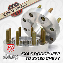 X2   5 To 8 Lug   Hub Centric Wheel Adapters / 1.5 Spacers   5x4.5 To 8x180