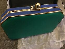 BNWT - Peeptoe Evening Bag or Clutch - Green and Blue with Gold Features