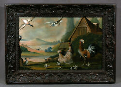 Early 19th Century Animal Painting Chickens Ducks & House Vintage Landscape