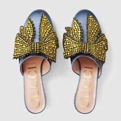 NEW Gucci Blue Satin Candy Jeweled Bow Embellished Mule Pump Shoes 939 Org$1890
