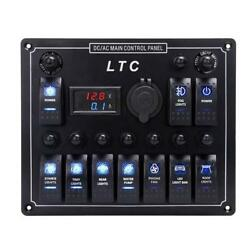 LTC® 10 Gang Waterproof Car Auto Boat Marine LED ACDC Rocker Switch Panel...