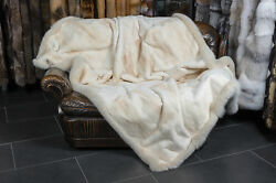 1632 Sheared Mink Fur Blanket with Bluefox Frame Genuine Throw Real Mink Quilt