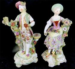 n686 PAIR 18TH CENTURY DERBY PORCELAIN FIGURES FIGURINES CANDLE HOLDERS