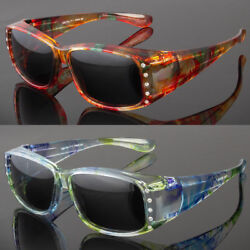 Polarized Rhinestone Cover Put Over Sunglasses Wear Rx Glass Fit Driving Large $9.99