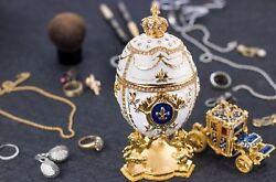 Royal Imperial White Faberge Egg Extra Large 6.6andrdquo With Faberge Carriage