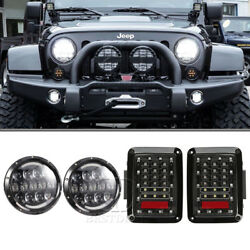 7'' LED HighLow Sealed Beam Headlight w H4-H13 adapter+Tail Light For JEEP JK