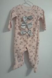 Baby Starters pink Floral Design w ballerina shoes bows Sleeper Size 9 Months  $10.99