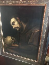 Antique 17th-18th Century.painting Monk With A Skull. Church.memento Mori.skull.