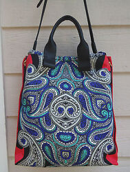 New 1385 Lanvin Tote Padam Paisley Vertical Shopper Expandable Leather Blue Red