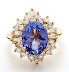 4.32 Carat Natural Blue Tanzanite And Diamonds In 14k Solid Yellow Gold Ring