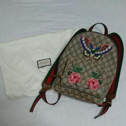Gucci GG Supreme Backpack Shoulder Day Bag Butterfly Small Blooms Flower Rare