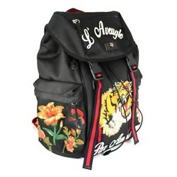 GUCCI Ghost Backpack Shoulder Day Bag Tiger Flower Butterfly Embroidery 429037 B