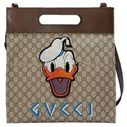GUCCI GG SUPREME Donald Duck Disney Neo Vintage Brown 463491 Never Used Bag