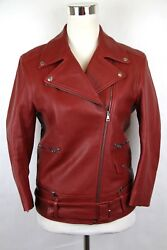 5100 New Womenand039s Red Biker Leather Jacket W/quilted Lining 411148 6405