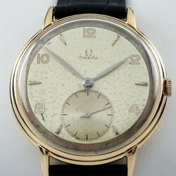 Omega Andomega 18k Yellow Gold Menand039s Hand-winding Watch Calibre 30t2pc 1940s