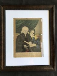 Currier And Ives Search The Scriptures Original Print 19 Century Nicely Framed
