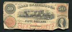 1859 50 The Bank Of Chattanooga Tennessee Obsolete Currency Note Rare