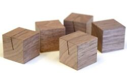 5 Luxe Walnut Wood Cube Wedding Place Card Menu Buffet Table Number Holders