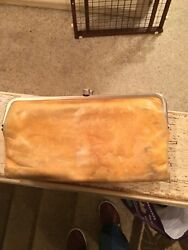 HOBO INTERNATIONAL LAUREN LEATHER DOUBLE FRAMED CLUTCH WALLET EARTH YELLOW