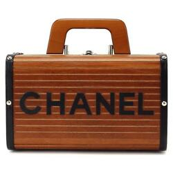 Auth CHANEL Wood Vanity Hand Bag Leather Brown Vintage Make-up box RARE 90036688