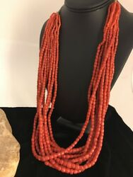 """Navajo Vintage Authentic Coral 10 Strand Graduated Necklace Gift 30"""" Old Pawn"""