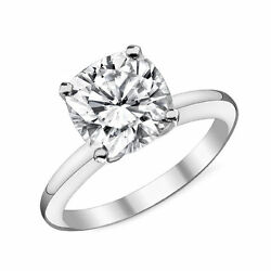 14k White Gold Cushion Cut Charles And Colvard Forever One Engagement Ring