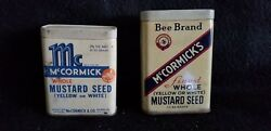 2 Antique Mccormick Spice Tins Both Mustard Seed 1930and039s