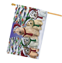 Wheaten Terriers Dog Christmas Family Portrait in Holiday House Flag FLG52803
