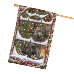 Come Home For Christmas Cairn Terrier Dog Sitting In Window House Flag FLG48399
