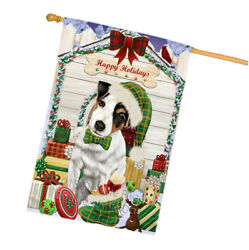 Holidays Christmas Jack Russell Terrier Dog House Presents House Flag FLG51505