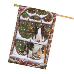 Come Home For Christmas Bull Terrier Dog Sitting In Window House Flag FLG48395