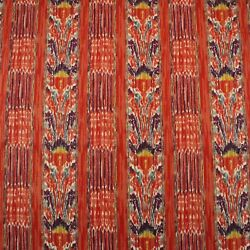 Clarence House New Mazar Brick Red Ikat Stripe 100 Linen Fabric By Yard 54w