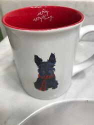 FRINGE Merry Everything Christmas Scottie Dog Scottish Terrier Black Mug Cup
