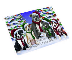 American Staffordshire Terriers Dog Christmas Family Portrait Blanket BLNKT90624