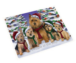 Australian Terriers Dog Christmas Family Portrait in Holiday Blanket BLNKT90633