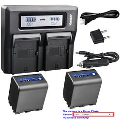 Kastar Battery Dual Lcd Fast Charger For Sony Np-qm91d And Dcr-dvd200 Dcr-dvd201