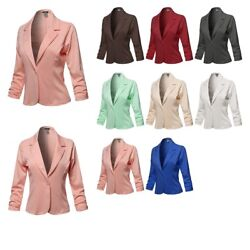 FashionOutfit Women#x27;s Casual Solid One Button Classic Blazer Jacket Made in USA $14.99
